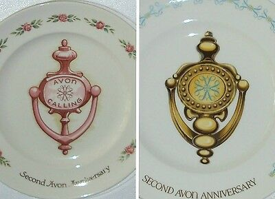 Avon 2nd Anniversary Plate 2 Boxed Collectible Set VTG Pink Rose & Blue A Border