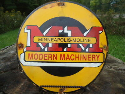 Vintage Minneapolis Moline Modern Machinery  Porcelain Sign Tractor
