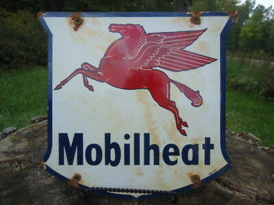 Vintage I.r. 1947 Mobilheat Porcelain Gas Station Pump Sign