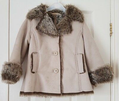NWOT Next Girls Suede & Faux Fur Coat - Age 4 years