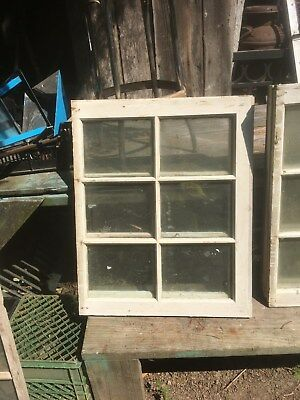 PRIMITIVE FARM HOUSE SASH 6 PANE WOOD WINDOW FRAME 25in x 29in