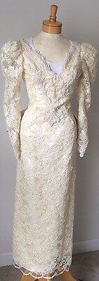 Vintage Demetrios Lace Beaded Cream Ivory Sequins Fitted Small Wedding Gown