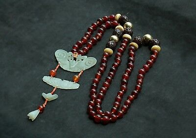 Antique Chinese Multi Carved Jade Pieces Red Carnelian Bead Necklace