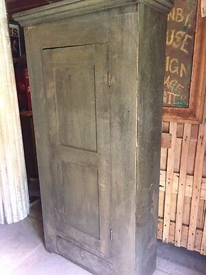 Early antique tall primitive painted cupboard cabinet green working key locks