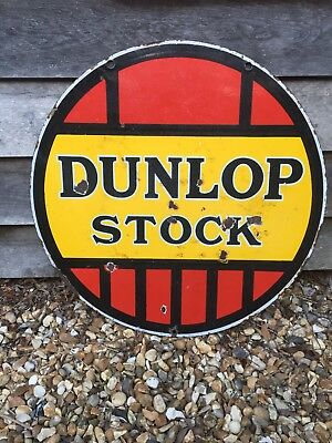 Automobilia Dunlop Stock Double Sided Enamel Sign Advertising Garage  Motoring 6cb7240cc94