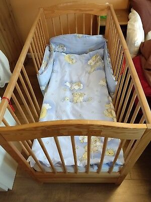 Cot bed, 3 base height, 2 removable rails, drawer, 120x65cm, wooden