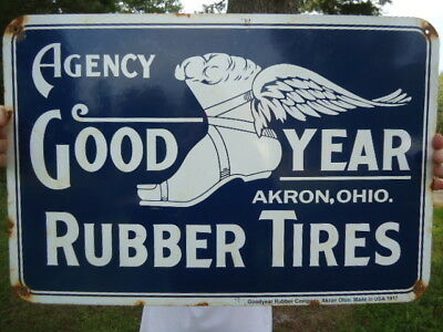 Large Old 1917 Goodyear Rubber Company Porcelain Tires Sign Akron, Ohio