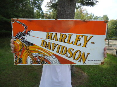 "Large Old 1930 Harley Davidson Motorcycle Dealer Porcelain Sign 24"" X 12"""