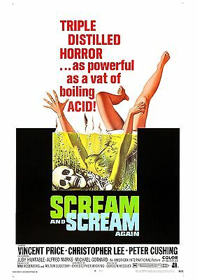 Scream And Scream Again - Christopher Lee - Vincent Price - A4 Laminated Poster