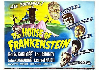 The House of Frankenstein - Lon Chaney Jr - A4 Laminated Mini Movie Poster