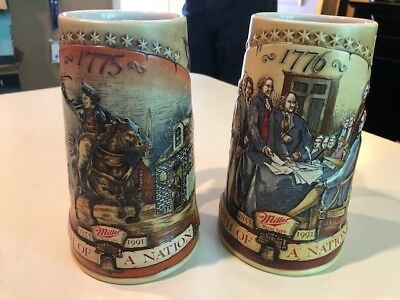 SET/2 MILLER HIGH LIFE *BIRTH OF A NATION* BEER STEINS 1775 and 1776 Never Used