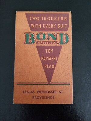 Bond Clothes 1937 Advertising Notepad. Providence,RI