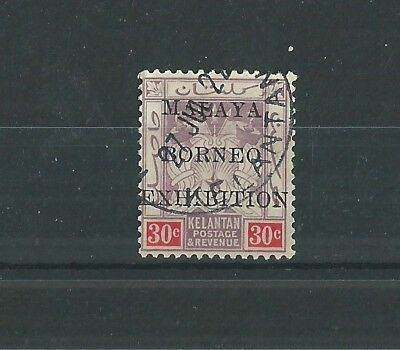 KELANTAN 1922 MALAYA-BORNEO EXHIBITION 30c SUPERB USED