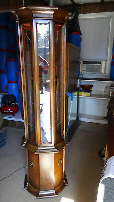 vintage wood / GLASS octagon display cabinet curio lighted 72'' tall 20'' dia.