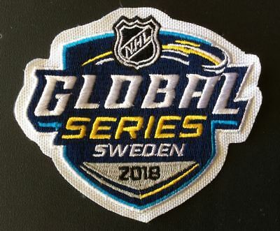 Nhl Global Series Sweden Jersey Patch 2018 Oilers New Jersey Devils Puck Style
