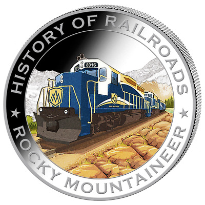 Liberia 2011 $5 History of Railroads - Rocky Mountaineer Proof Silver Coin