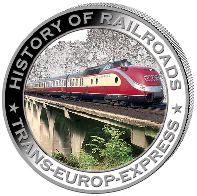 Liberia 2011 $5 History of Railroads - Trans Europe Express Proof Silver Coin