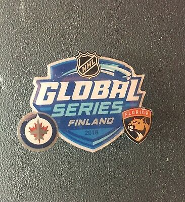 Nhl Global Series Finland Dueling Pin 2018 Jets Vs. Florida Panthers Puck Style