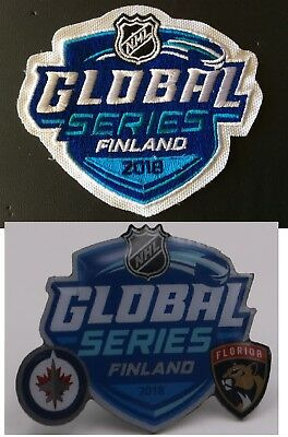 2018 Global Series Finland Jersey Patch Dueling Pin Panthers Vs. Jets Puck Style