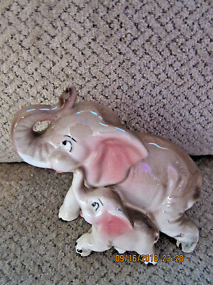 """Vintage Japan elephant and baby porcelain figurine pink ears collectible 4.5"""" T"""