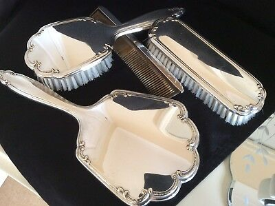 Vintage Silver plate  Piece Of 4 Dressing Table Set Stamped Denmark JTH S