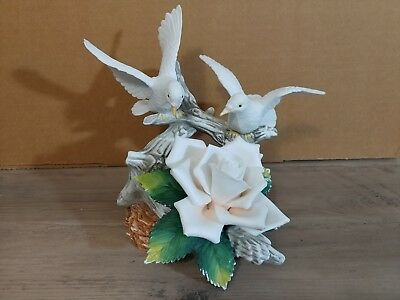 Andrea By Sadek Two Doves with a Rose Fine Porcelain Figurine