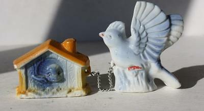 Blue Bird w-Bird House Figure Ceramic-Porcelain Hand Painted Made in Japan-Chain