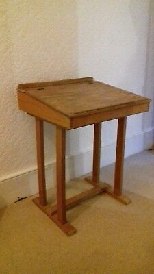 Vintage wooden school desk flip lid top