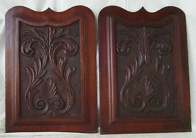 Carved Wood Panels Pair Solid Wood