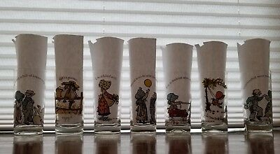 Set of 7 Different Vintage Holly Hobbie by American Greetings Glasses Tumblers