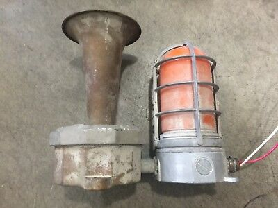 Vintage Benjamin Electric Ship Klaxon Horn with Explosion Proof Cage Attached