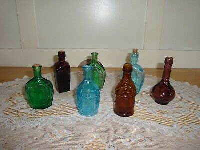 REDUCED 7 Vintage Wheaton? Mini Colored Glass Bottles- Home Decor