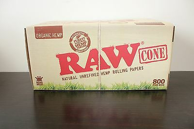 800 Raw Organic King Size Pre-Rolled Cones Natural Unrefined~Full Box