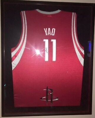 b14bf30f5 YAO MING Signed Game Worn Away Jersey Framed Emblemed. Hall Of Fame
