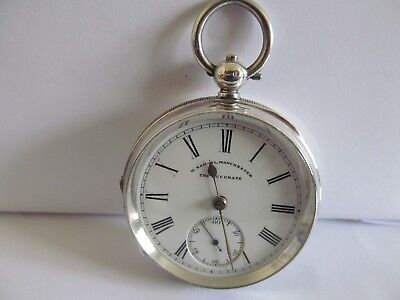 1901 rare H.Samuel the Accurate pocket watch solid silver v.g.c and working
