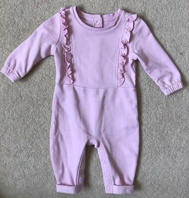 Marks & Spencer Light Pink Long Sleeved Babygrow With Ruffles Size 3-6 Months