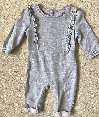 Marks & Spencer Grey Long Sleeved Babygrow With Ruffles Size 3-6 Months