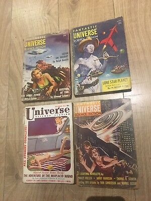 Fantastic Universe 3 Books & Universe Science Fiction 1 Book 1950s pulp magazine