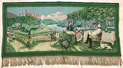 """French Socializing Scene Very Fine Details Vintage  Woven Tapestry 28""""x60"""" N-16"""