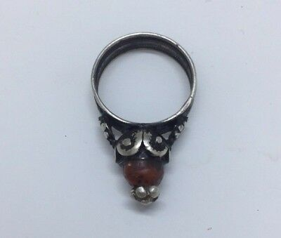Antique Silver Yemeni Bedouin Ring handmade with Rare Red Coral Stone Size 9