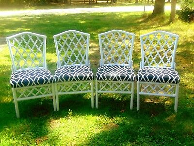 Set 4 Vintage Bamboo Rattan Chippendale Dining Chairs ~ Rattan Specialties Inc.