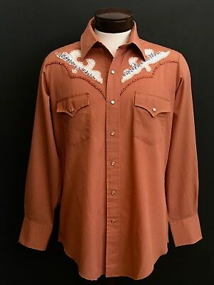 "Vintage ""champion"" Mens Embroidered Rockabilly Western Shirt, Size L"