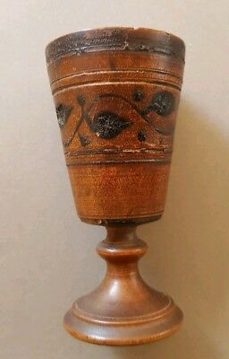SMALL AGE PATINATED ANTIQUE (17th/18th CENTURY?) TURNED, INLAID FRUITWOOD GOBLET