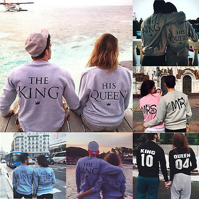 Lover Couple Matching King And Queen Hoodie Jumper Sweater Tops Sweatshirts US