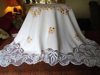 Stunning Vintage Hand Embroidered V.lg.tablecloth~Florals~Birds~Deep Tape Lace