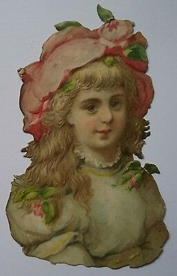 Emboss. Diecut Victorian Scrap. Young girl in her rose decorated hat.11x7cms