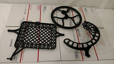 vintage Cast Iron New Home sewing machine pedal,wheel, & guard industrial age