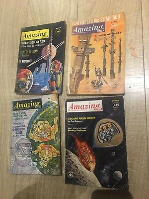 4 x Amazing Fact And Science Fiction stories - Books - 1960s - Pulp Magazines