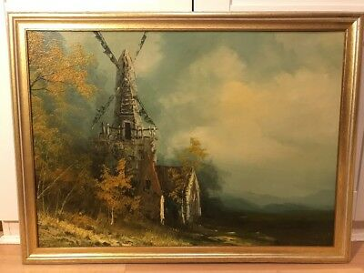 Large Signed Vintage Oil Painting On Board Of Windmill In Gold Frame