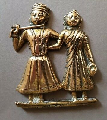 UNUSUAL ANTIQUE INDIAN SOLID, RAISED BRASS PLAQUE of EMBRACING MARRIED COUPLE.